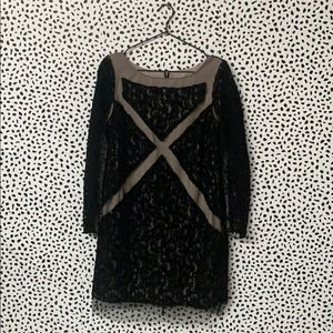 Tracy Reese Velvet Black Embroidered Dress